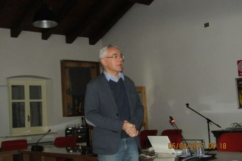 6 aprile 2017, Aquileia, Sindaco Spanghero, saluta i convegnisti